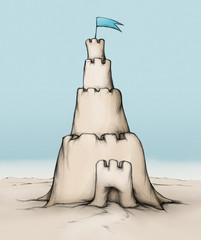 Sandburg mit einem hohen Turm