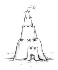 Sandburg mit hohem Turm
