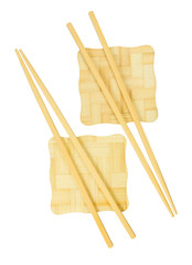 Chopsticks on the yellow bamboo stand.