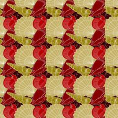 Seashells seamless pattern. Red, gold, white