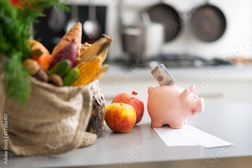 Papiers peints Legume Closeup on money in piggy bank and purchases from local market