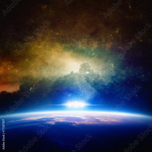 Foto op Canvas UFO UFO approaches planet