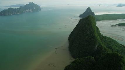 Aerial view sheer limestone karsts, Phi Phi Island, Krabi, Thailand