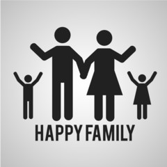 happy family over gray color background