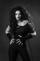 Beautiful rocker girl posing black and white