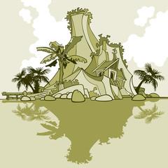 cartoon island-mountain and palm trees