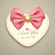 Valentines pink ribbons and heart greeting card