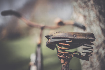 Rusty bicycle saddle