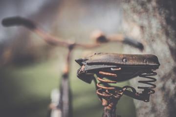 Rusty bicycle saddle