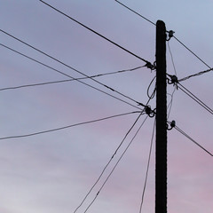 electric wires at sunset