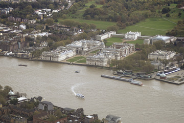 United Kingdom, London, Greenwich, Aerial view of Old Royal Naval College