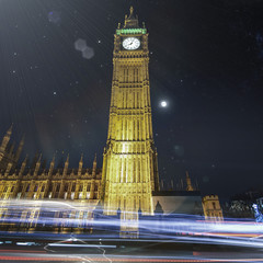 UK, England, London, Low angle view of Big Ben at night