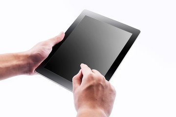 Man hands holding and point on modern electronic digital frame