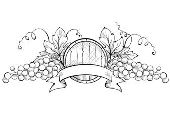 Design elements -- grape with ribbon and wine cask