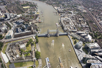 UK, London, Aerial view of Tower Bridge and city