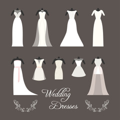 Set of wedding dresses isolated vector illustration