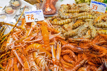 Prawns and shrimps for sale seen at a market