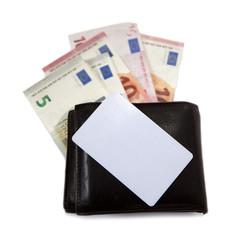 carte de visite et portefeuille billet