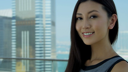 Young Ethnic Businesswoman City Rooftop Portrait