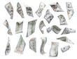 Set of Falling or Floating $100 Bills Each Isolated - 77392036