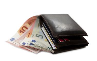 billet dans un portefeuille ouvert