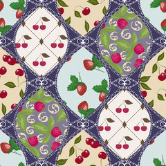 Seamless berry pattern patchwork design for fabric