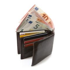 billet d'euros et portefeuille