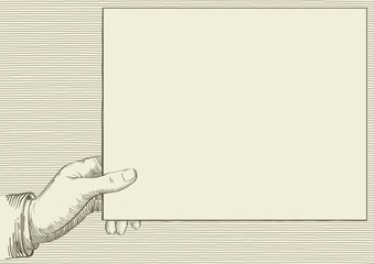 Vector background with Human hand  at retro engraving style.