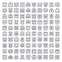 100 line art creatures