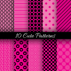 Cute abstract geometric bright seamless patterns