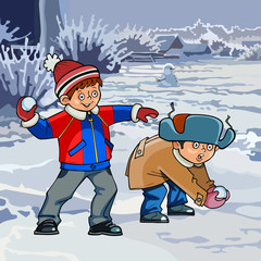 cartoon two boys playing snowballs in winter
