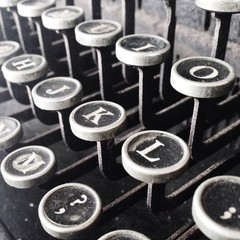 Close-up of typewriter keys