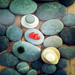 Hintergrund - Steine und Herzen
