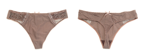 Collage of two female brown panties