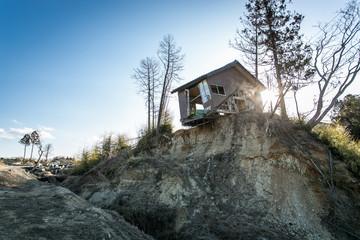 Derelict shack on cliff