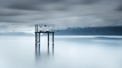 Switzerland, Lac Leman, View of diving platform