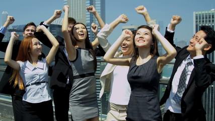 Triumphant Team Multi Ethnic Corporate Business People