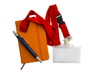 Badge, notebook and pen