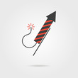 striped firework rocket icon with shadow - 77395262