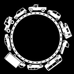 車のサークル(黒背景の白抜き)