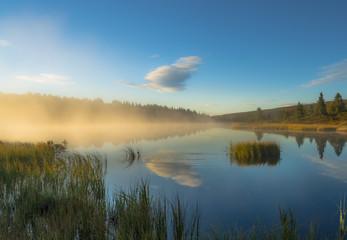 Cloud reflecting in lake
