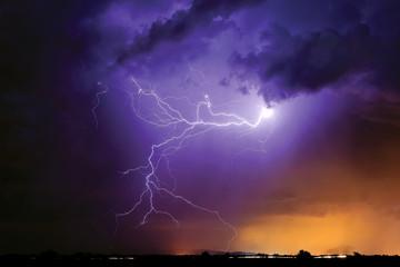USA, Arlington, Arizona, Tentacles of light during storm