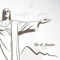 Statue of Jesus Christ in Rio de Janeiro. Vector