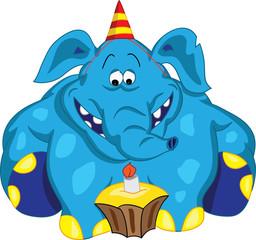 Веселый слон сидит и смотрит на торт со свечкой