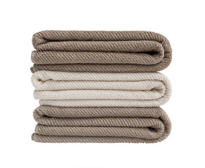 Three bath towels in stack  isolated over white