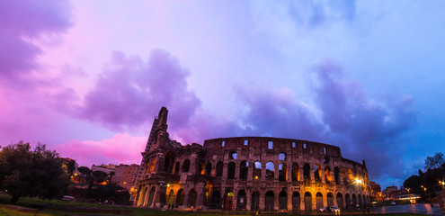 Italy, Rome, Colosseum at sunset