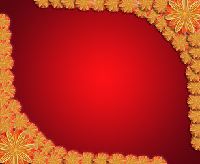 frame from flowers on red sparkling background