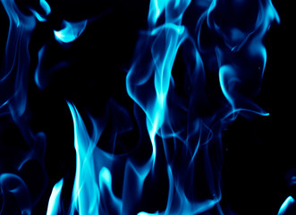 Blue flames on a black background