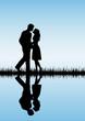 Couple on blue background