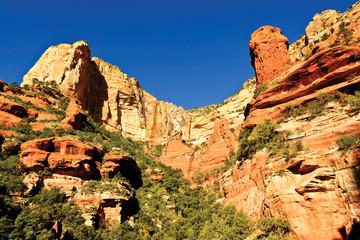 USA, Arizona, Yavapai County,  Fay Canyon, Cliffs and sandstone rocks near Sedona